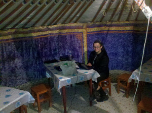 sherrie writing in mongolia